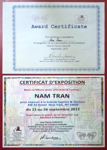 Certificat Nam Tran Expo New York 2015