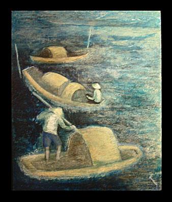 Pêcheurs en barque de nuit