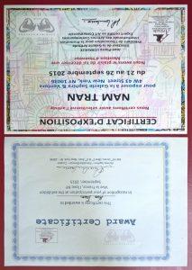 Certificat Nam Tran Expo New York 2015